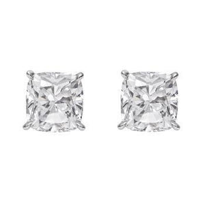 Prong Set Cushion Cut 3 Ct Diamonds Ladies Studs Earring White Gold Stud Earrings