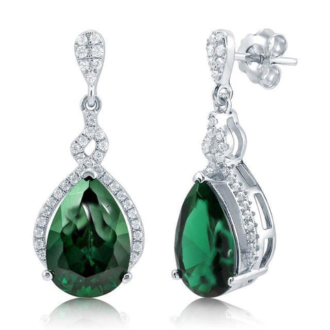 Prong Set Emerald And Diamonds 7.00 Carats Dangle Earrings White Gold 14K Gemstone Earring