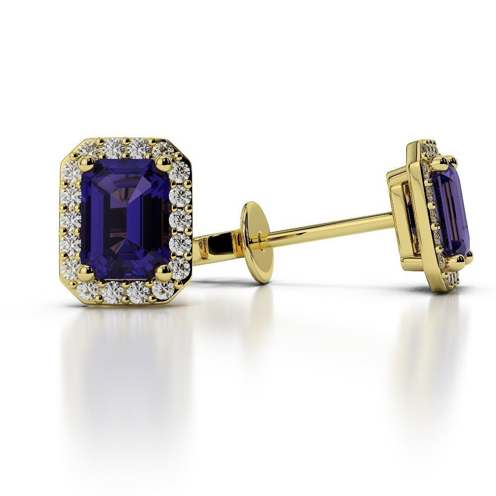 Prong Set Emerald Tanzanite With Diamonds Halo 5.50 Ct Studs Gold 14K Gemstone Earring