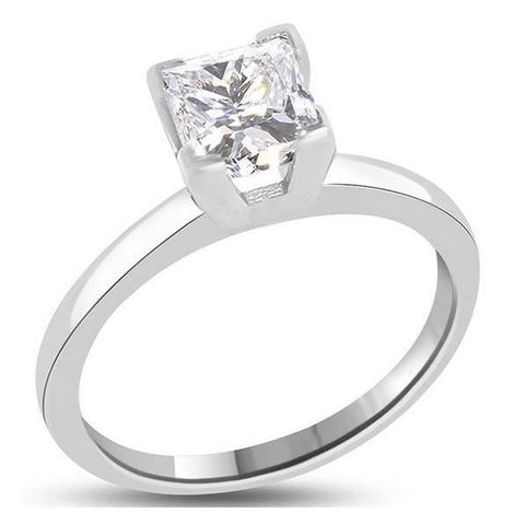 Prong Set G Vs2 Princess Cut 0.75 Carat Diamond Ring White Gold 14K Ring