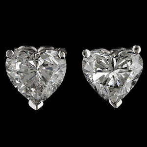 Prong Set Heart Cut Solitaire Diamond Stud Earring Solid Gold Jewelry Stud Earrings