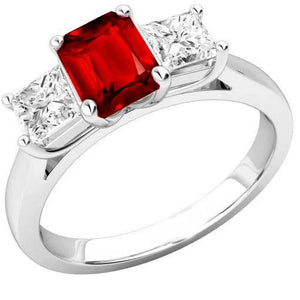 Prong Set Red Ruby And Diamonds 4.00 Carats Ring 14K Gold Gemstone Ring