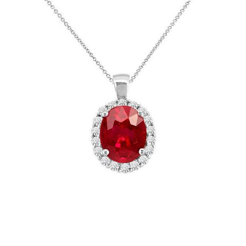 Prong Set Red Ruby And Diamonds 6.00 Carats Pendant Necklace White Gold 14K Gemstone Pendant