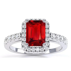 Prong Set Red Ruby With Diamonds 4.45 Carats Ring White Gold 14K New Gemstone Ring