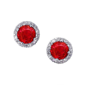 Prong Set Red Ruby With Diamonds 7.00 Ct Studs Earrings White Gold Halo Gemstone Earring