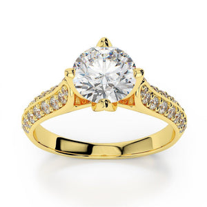Prong Set Round Brilliant Cut 3.00 Ct Diamonds Ring Yellow Gold 14K Engagement Ring