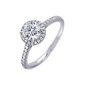 Prong Set Round Cut 2.00 Ct. Diamonds Engagement Ring White Gold Halo With Accent Diamonds On Shank Halo Ring