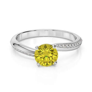 Prong Set Round Cut 3.50 Ct Yellow Sapphire With Diamonds Ring Gemstone Ring