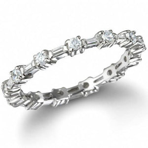 Prong Set Round Diamond Eternity Wedding Band White Gold 14K 3.5 Ct. Eternity Band