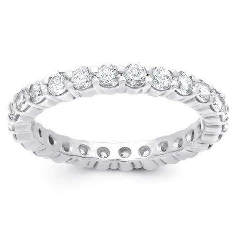 Prong Set Round Diamond Eternity Wedding Lady Band White Gold 3.90 Ct Eternity Band