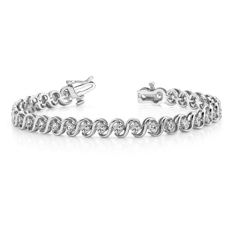 Prong Set Round Diamond Tennis S Style Bracelet White Gold 6 Ct Tennis Bracelet