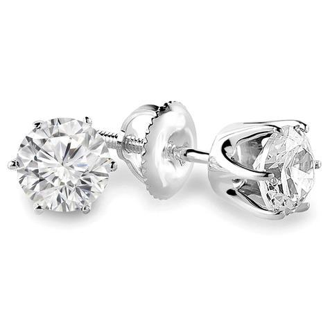 Prong Set Solitaire Round Brilliant Cut 0.75 Ct Diamond Studs Earring Stud Earrings