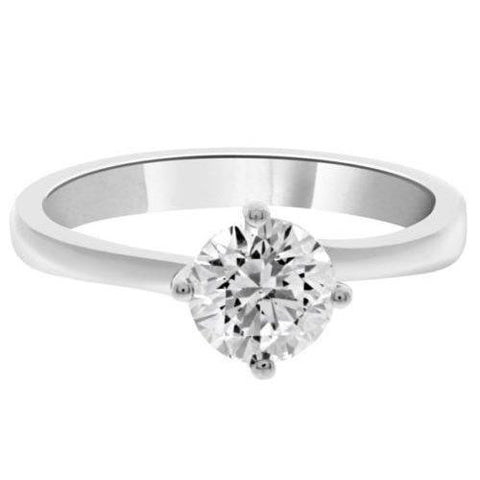 Prong Set Solitaire Round Cut Diamond Engagement Ring White Gold Solitaire Ring