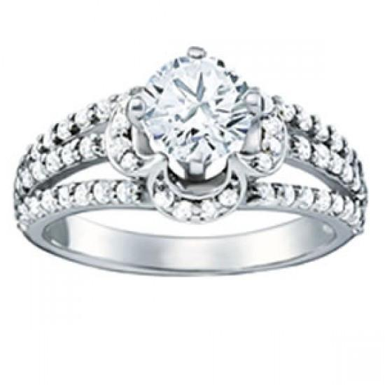 Prong Setting 1.35 Carats Round Diamonds Engagement Ring Gold 14K Engagement Ring