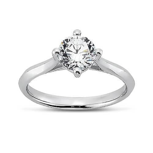 Prong Setting 1.5 Carat Round Brilliant Diamond Solitaire Ring White Gold 14K Solitaire Ring