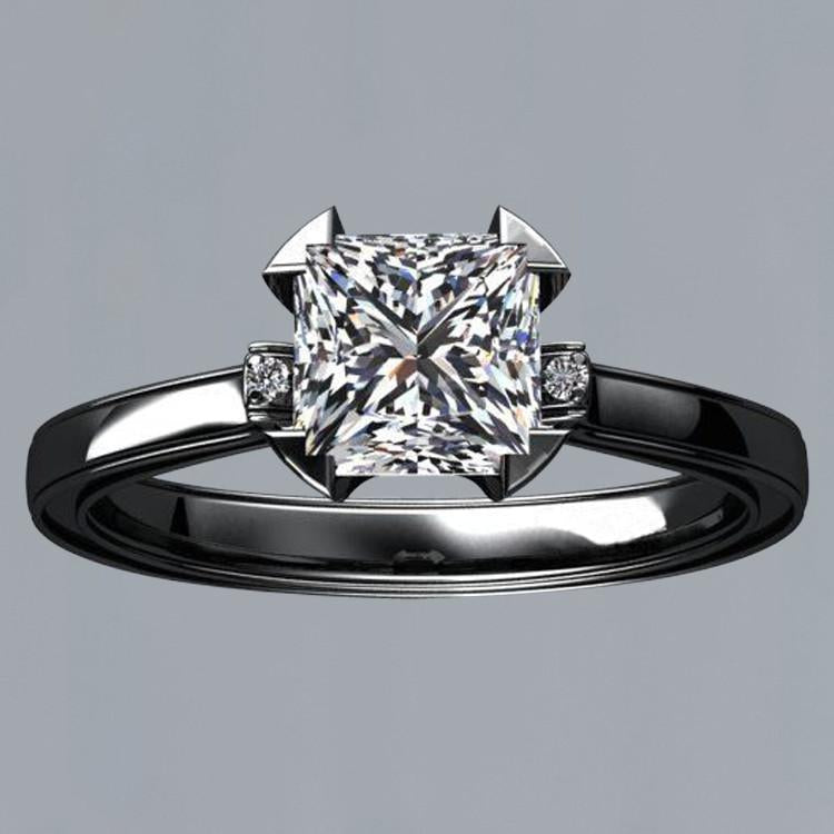 Prong Setting 1.56 Carat Princess Diamond Engagement Solitaire Ring Black Gold 14K Solitaire Ring
