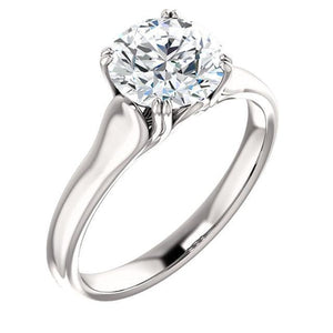 Prong Setting 2.01 Carat E Vvs1 Round Brilliant Diamond Solitaire Ring Gold White 14K Solitaire Ring