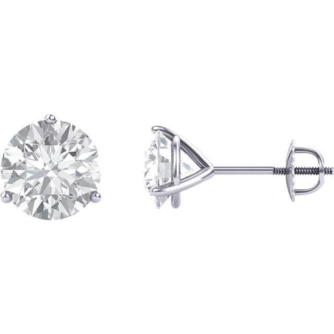 Prong Setting Round Diamond Stud Earring White Gold 14K 2 Carats Stud Earrings