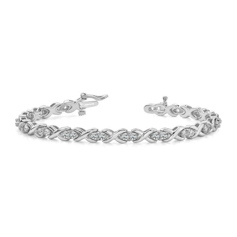 Prong Setting Round Diamond X Style Link Tennis Bracelet Gold 8 Ct Tennis Bracelet