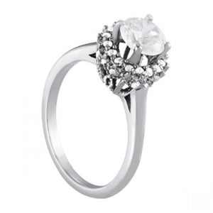 Prong Setting Round Diamonds Engagement Fancy Ring 1.25 Carats White Gold 14K Engagement Ring