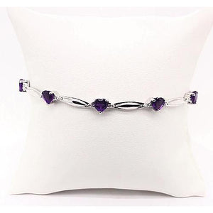 Purple Amethyst Heart Shape Diamond Bracelet 9.54 Carats White Gold 14K Jewelry New Gemstone Bracelet