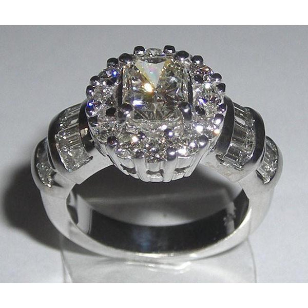 Radiant Cut Diamonds Women Ring 3.01 Carat Antique Look White Gold Ring
