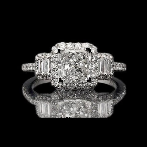 Radiant Cut Engagement Ring 4 Carat Diamonds Fancy Ring Gold Engagement Ring