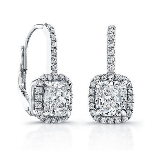 Radiant  Round Diamonds 3.50 Ct.  Leverback Ear Ring White Gold Leverback Earrings