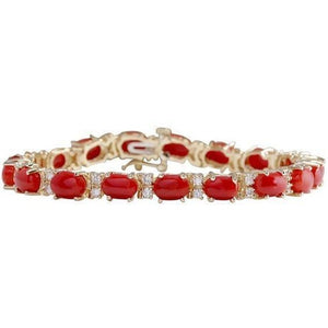 Red Coral And Diamonds 15.00 Ct Bracelet Yellow Gold 14K Gemstone Bracelet