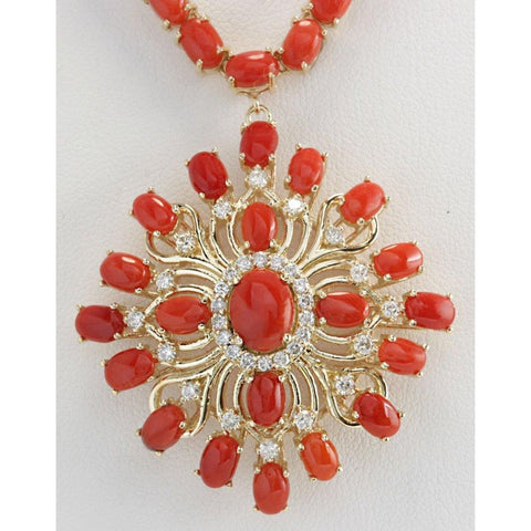Red Coral And Diamonds 73.75 Carats Women Necklace Yellow Gold 14K Gemstone Necklace
