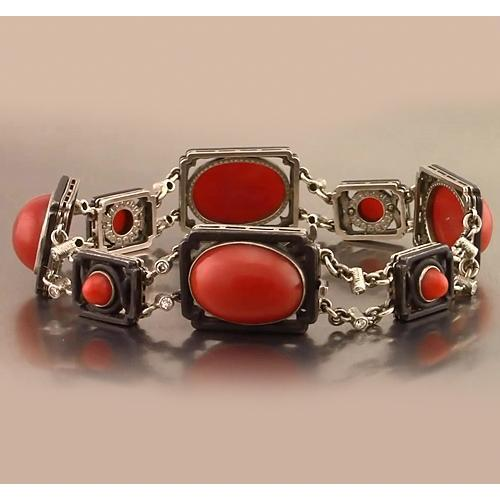 Red Coral Bracelet 88.42 Carats Women Jewelry New Gemstone Bracelet