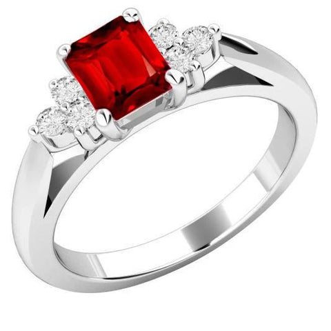 Red Ruby And Diamonds 3.40 Carats Ring White Gold 14K Gemstone Ring
