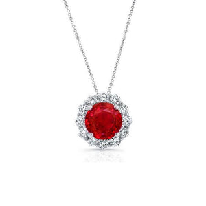 Red Ruby And Diamonds 4.75 Carats Pendant Necklace Gold White 14K Gemstone Pendant