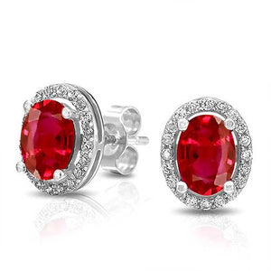 Red Ruby And Round Diamond Stud Halo Lady Earring Gold Jewelry Oval Cut Gemstone Earring