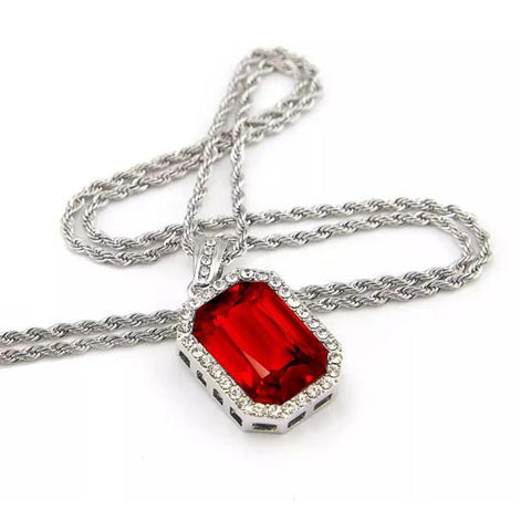 Red Ruby Radiant Cut With Round Cut Diamonds 7.35 Ct. Pendant Necklace 14K Gold Gemstone Pendant