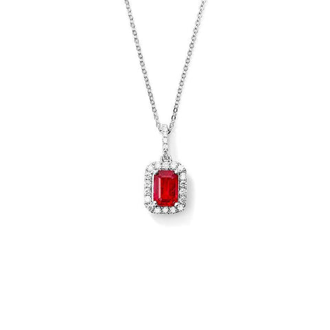 Red Ruby With Diamonds 4.00 Carats Pendant Necklace 14K White Gold Gemstone Pendant