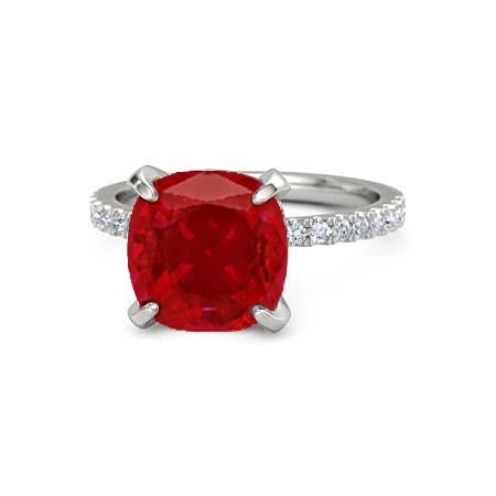 Red Ruby With Diamonds 4.25 Carats Ring 14K White Gold Gemstone Ring