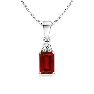 Red Ruby With Diamonds 4.50 Carats Pendant Necklace White Gold 14K Gemstone Pendant
