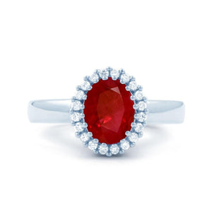 Red Ruby With Diamonds 5.75 Carats Ring White Gold 14K Gemstone Ring