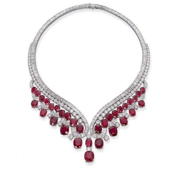 Red Ruby With Diamonds 59 Carats Ladies Necklace 14K White Gold Gemstone Necklace