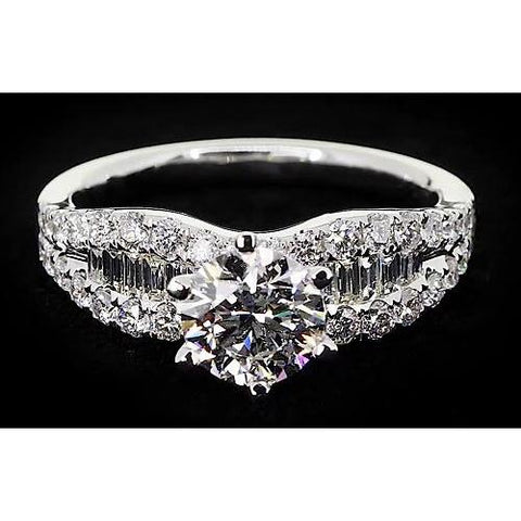 Ribbon Style Womens' Ring Round Diamond 6 Prong Set 2.75 Carats Engagement Ring