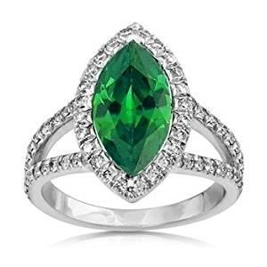 Ring 14K Marquise And Round Cut Emerald With Diamonds 3.35 Carats Ring