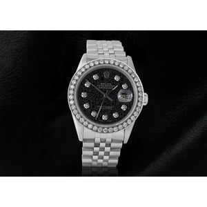 Rolex Big Bezel Black Jubilee Diamond Dial Men'S Datejust Ss Watch Rolex