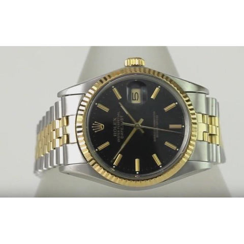 Rolex Date Just 36Mm Men Watch Two Tone Oyster Bracelet Black Dial Rolex
