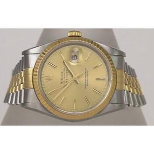 Rolex Date Just Men Watch 36Mm Champagne Dial Two Tone Bracelet Rolex