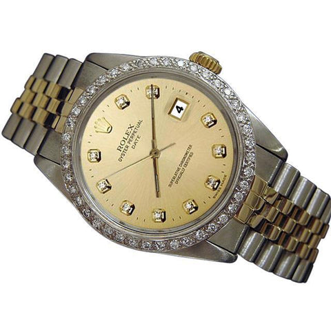 Rolex Date Watch Men Champagne Diamond Dial Bezel Two Tone Jubilee Rolex