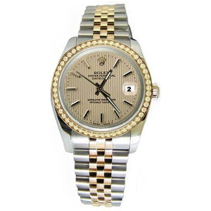 Rolex Datejust Brown Stick Dial Watch Solid Gold & Steel Jubilee Rolex
