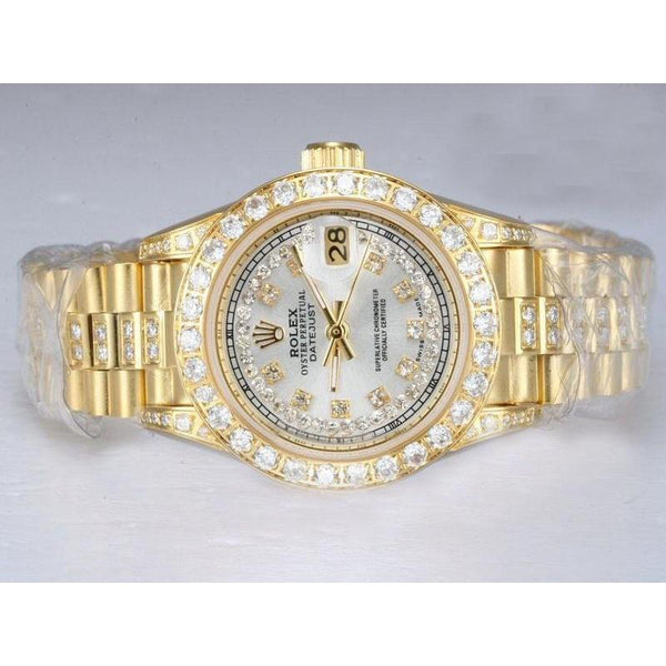 Rolex Datejust Iced Out Diamond Lady Watch Yellow Gold Bracelet Rolex