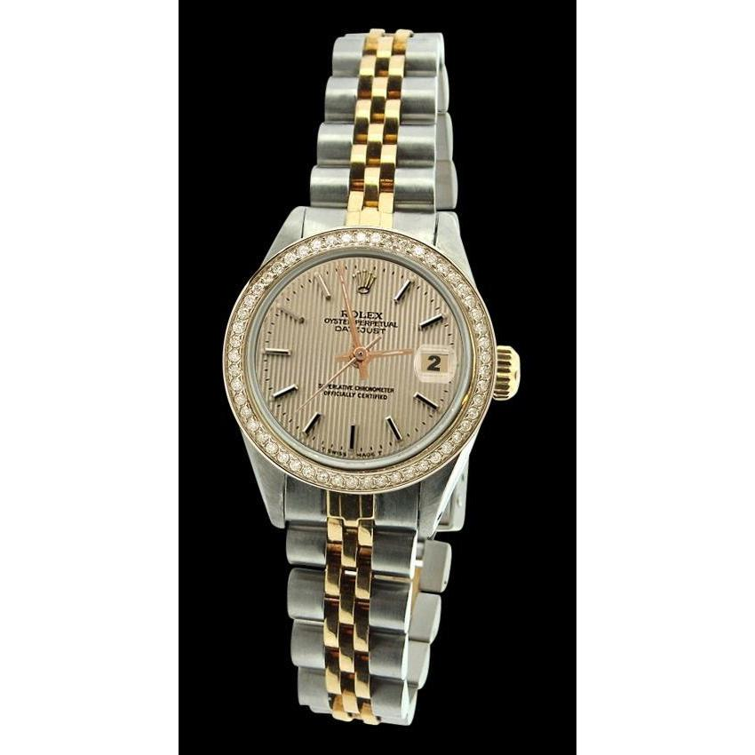 Rolex Datejust Ladies Watch Ss & Yellow Bracelet Brown Stick Rolex