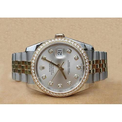 Rolex Datejust Men Silver Diamond Dial Diamond Bezel 18K Watch Rolex
